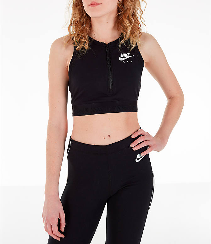 117837bc5 Front view of Women's Nike Air Half-Zip Crop Top in Black/White