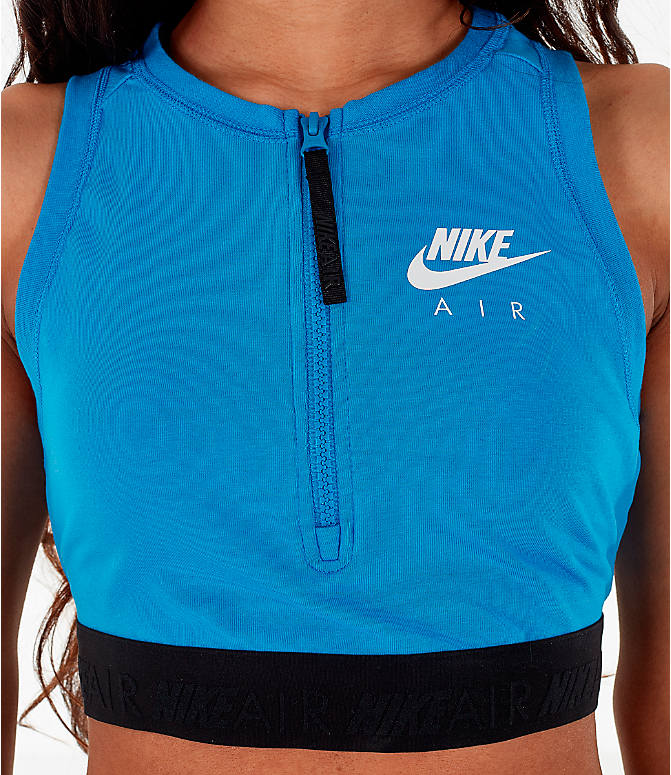 Detail 1 view of Women's Nike Air Half-Zip Crop Top in Light Photo Blue/White