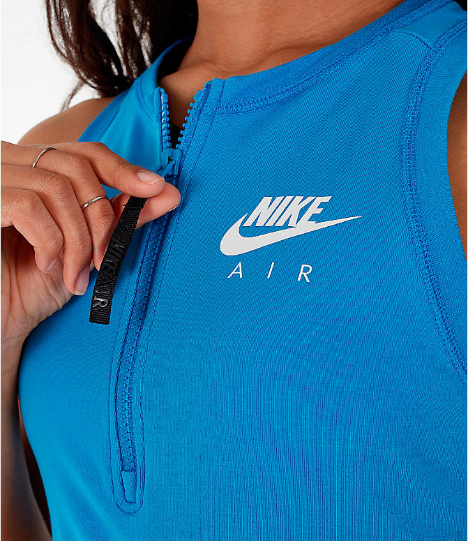 Detail 2 view of Women's Nike Air Half-Zip Crop Top in Light Photo Blue/White