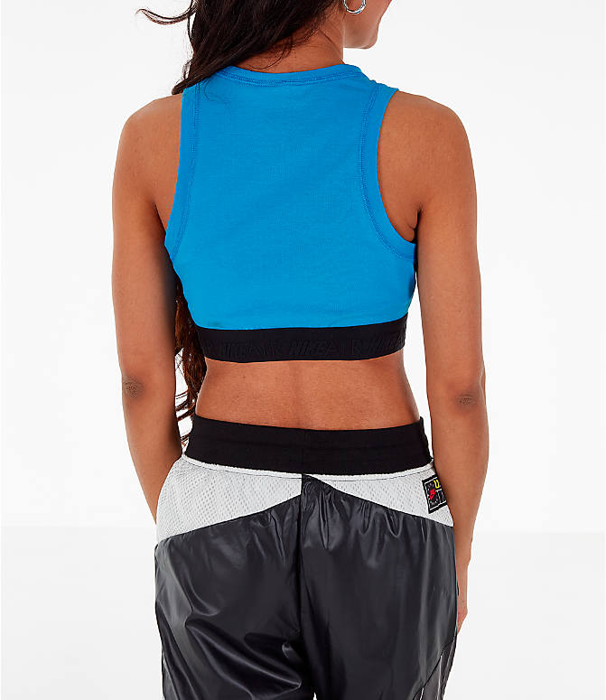 Back Right view of Women's Nike Air Half-Zip Crop Top in Light Photo Blue/White