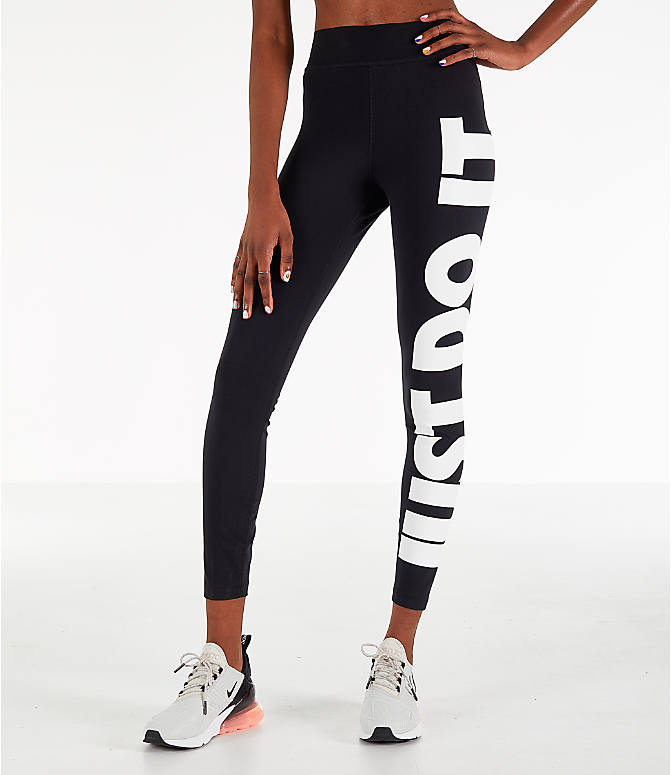 Front Three Quarter view of Women's Nike Sportswear Leg-A-See JDI Leggings in Black/White
