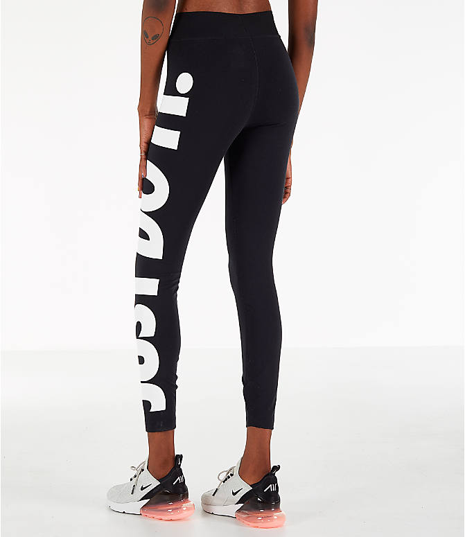 Back Left view of Women's Nike Sportswear Leg-A-See JDI Leggings in Black/White