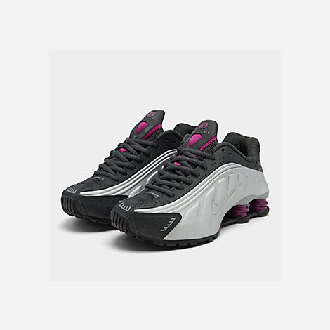 new arrival 6585c a975a Three Quarter view of Women's Nike Shox R4 Casual Shoes in Anthracite/True  Berry/