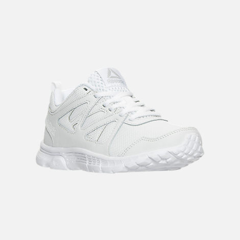 Three Quarter view of Boys' Preschool Reebok Run Supreme 2.0 Running Shoes in White/White