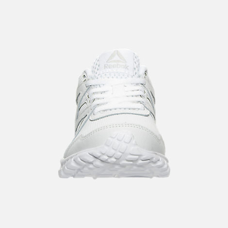 Front view of Boys' Preschool Reebok Run Supreme 2.0 Running Shoes in White/White