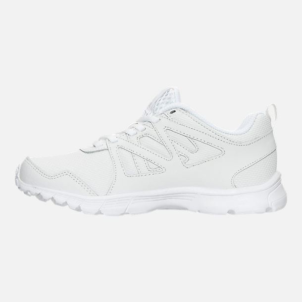 Left view of Boys' Preschool Reebok Run Supreme 2.0 Running Shoes in White/White