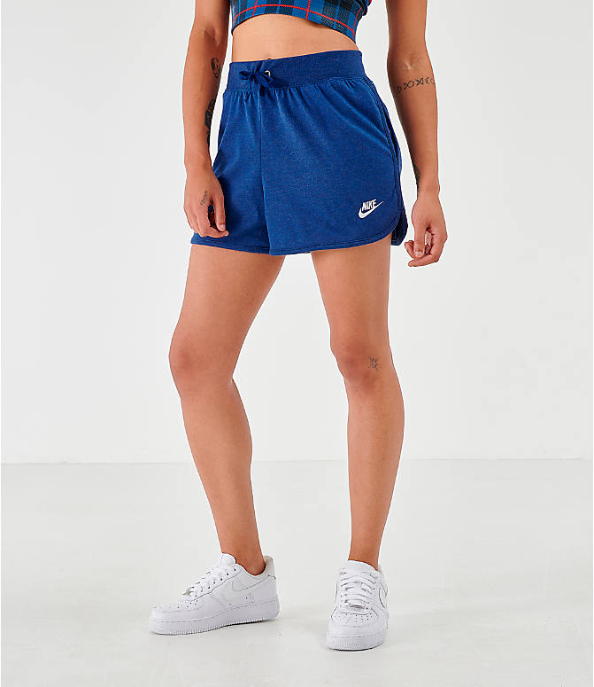 Front view of Women's Nike Sportswear Jersey Shorts in Blue Void/Heather/White