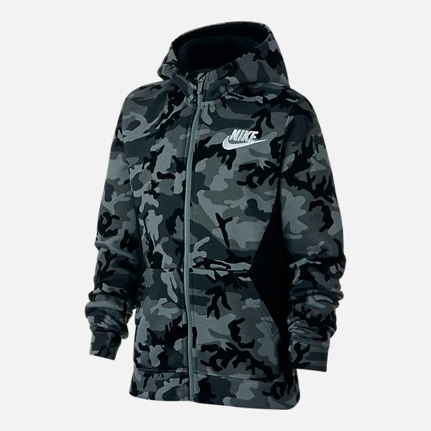 e28330f904ac Front view of Boys  Nike Club Fleece Full-Zip Hoodie in Grey Camo