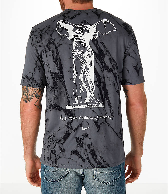 Front view of Men's Nike Sportswear Marble Victory T-Shirt in Dark Grey