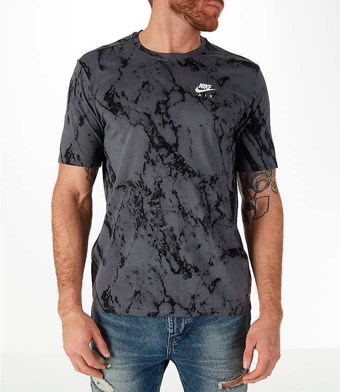 Front Three Quarter view of Men's Nike Sportswear Marble Victory T-Shirt in Dark Grey