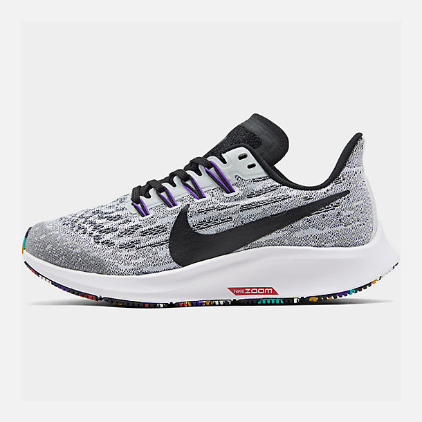 Right view of Boys' Big Kids' Nike Air Zoom Pegasus 36 Running Shoes in White/Black/Hyper Grape