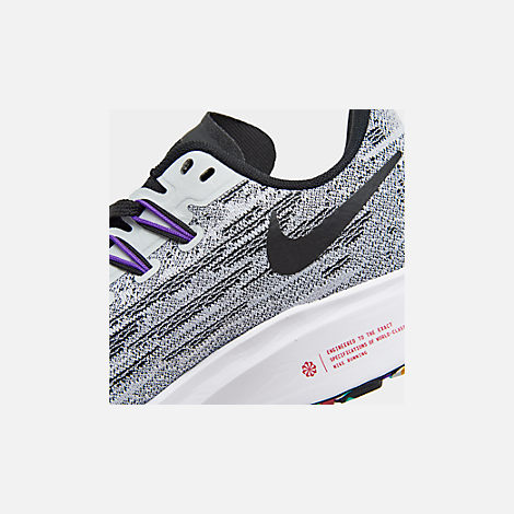 Front view of Boys' Big Kids' Nike Air Zoom Pegasus 36 Running Shoes in White/Black/Hyper Grape