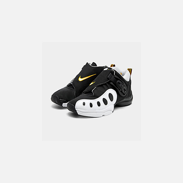 Three Quarter view of Men's Nike Zoom GP Basketball Shoes in Black/White/Canyon Gold/Metallic Platinum