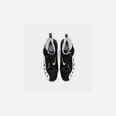 Back view of Men's Nike Zoom GP Basketball Shoes in Black/White/Canyon Gold/Metallic Platinum