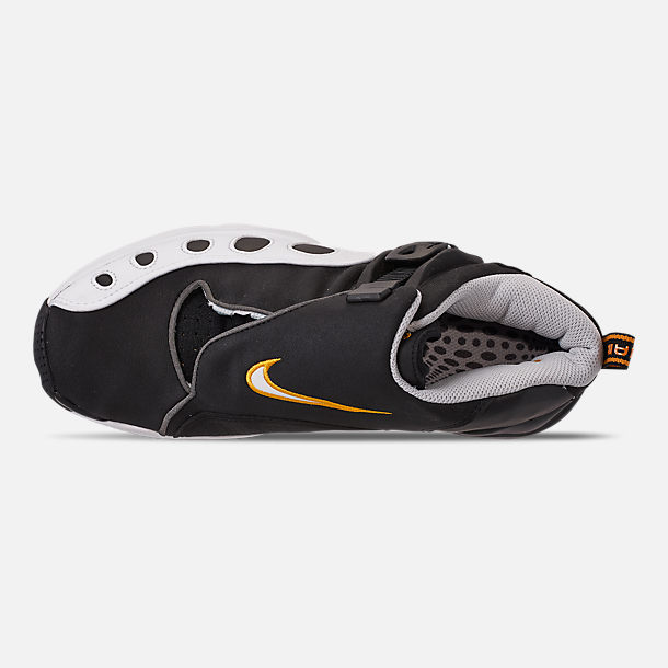 Top view of Men's Nike Zoom GP Basketball Shoes in Black/White/Canyon Gold/Metallic Platinum