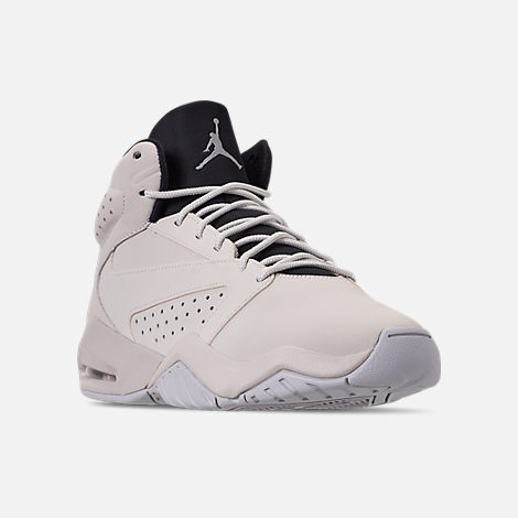 Three Quarter view of Men's Air Jordan Lift Off Basketball Shoes in Light Bone/Reflect Silver/Grey Fog/Black