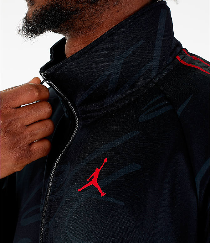 Detail 1 view of Men's Jordan Jumpman Graphic Track Jacket in Black/Gym Red