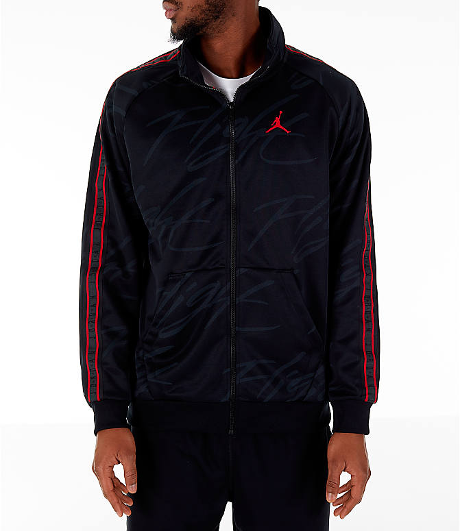 Front Three Quarter view of Men's Jordan Jumpman Graphic Track Jacket in Black/Gym Red
