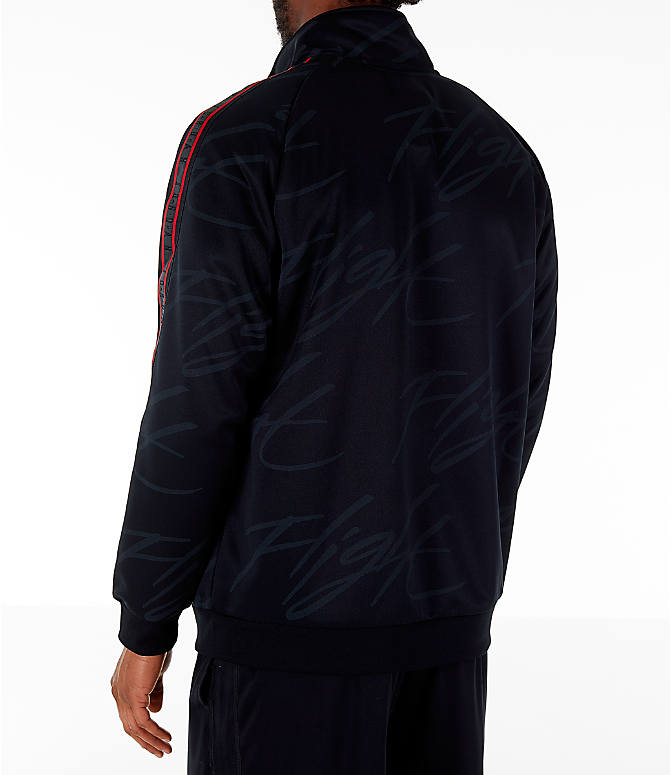 Back Left view of Men's Jordan Jumpman Graphic Track Jacket in Black/Gym Red