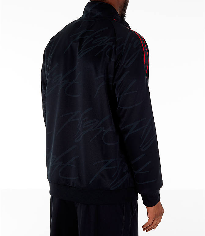 Back Right view of Men's Jordan Jumpman Graphic Track Jacket in Black/Gym Red