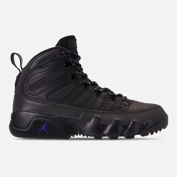 Right view of Men's Air Jordan 9 Retro NRG Sneakerboots in Black/Black/Concord