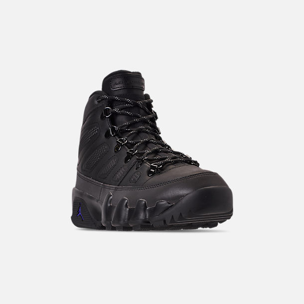 Three Quarter view of Men's Air Jordan 9 Retro NRG Sneakerboots in Black/Black/Concord