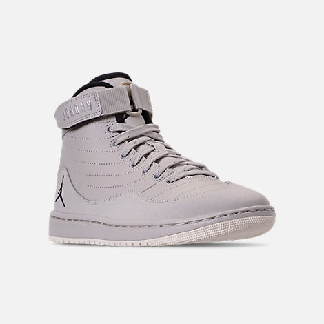 Three Quarter view of Men's Air Jordan SOG Off-Court Shoes in Light Bone/Black/Sail/Reflect Silver