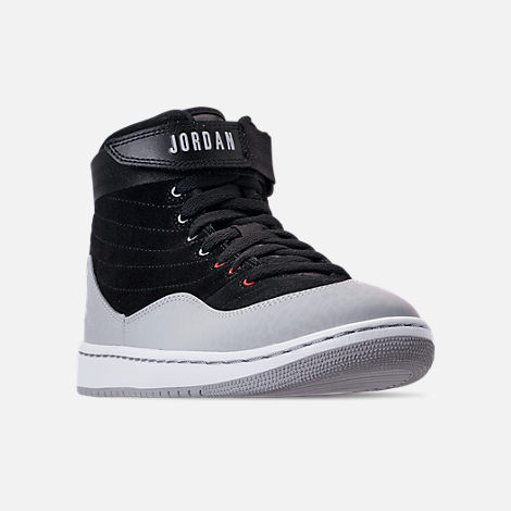 Three Quarter view of Men's Air Jordan SOG Off-Court Shoes in Black/White/Gym Red/Cement Grey