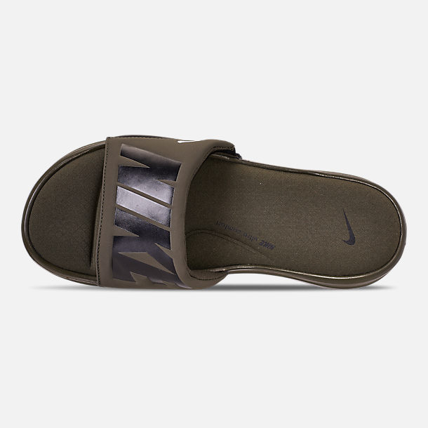 Top view of Men's Nike Ultra Comfort 3 Slide Sandals in Cargo Khaki/Black/Off White
