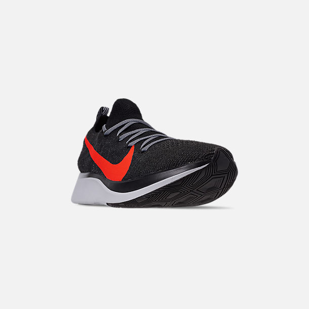699d786070ce Three Quarter view of Men s Nike Zoom Fly Flyknit Running Shoes in  Black Bright Crimson
