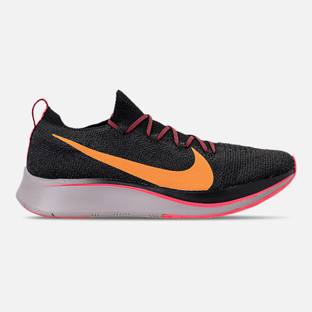 Right view of Men's Nike Zoom Fly Flyknit Running Shoes in Black/Flash Crimson/Orange Peel/Moon