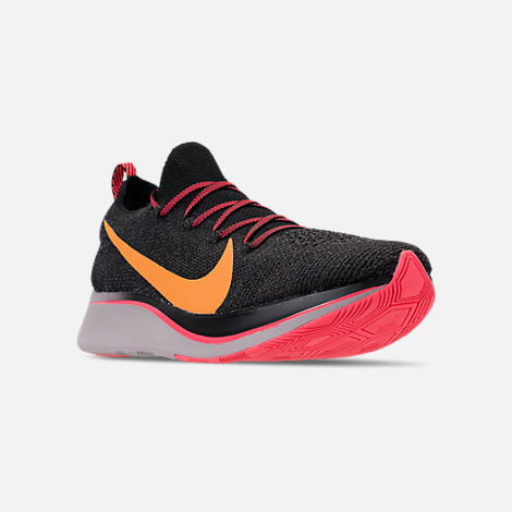 Three Quarter view of Men's Nike Zoom Fly Flyknit Running Shoes in Black/Flash Crimson/Orange Peel/Moon