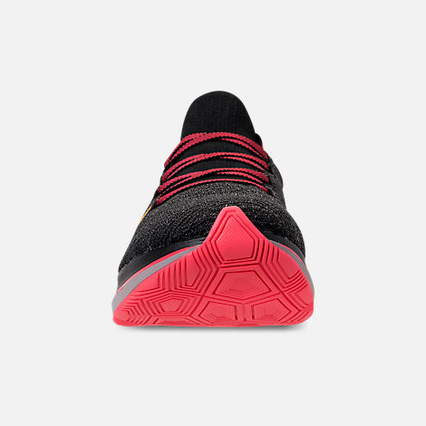 Front view of Men's Nike Zoom Fly Flyknit Running Shoes in Black/Flash Crimson/Orange Peel/Moon