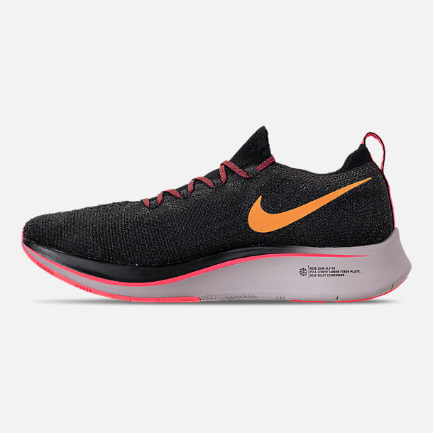 Left view of Men's Nike Zoom Fly Flyknit Running Shoes in Black/Flash Crimson/Orange Peel/Moon