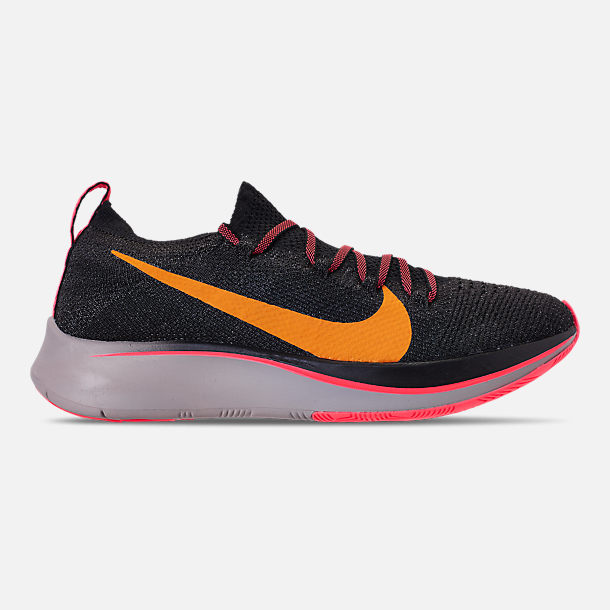 Right view of Women's Nike Zoom Fly Flyknit Running Shoes in Black/Flash Crimson/Orange Peel