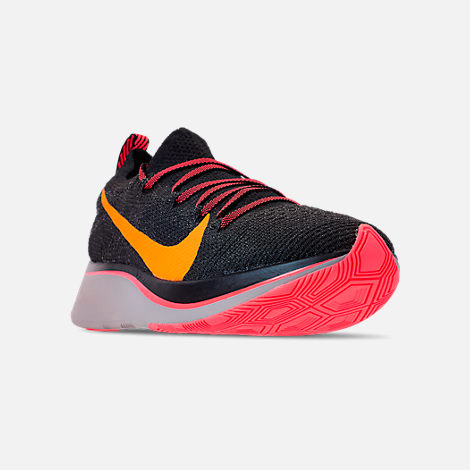 Three Quarter view of Women's Nike Zoom Fly Flyknit Running Shoes in Black/Flash Crimson/Orange Peel