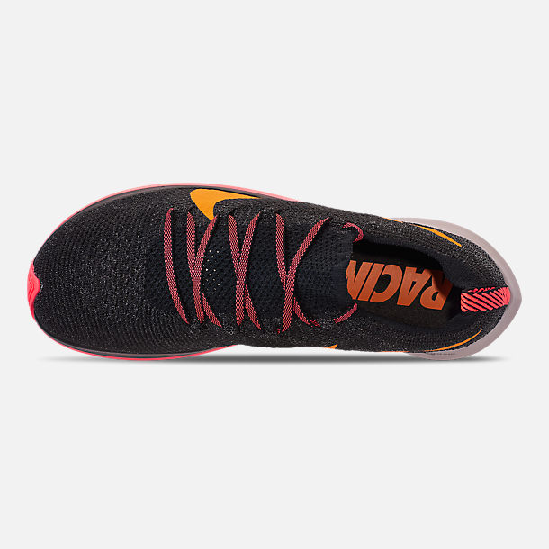 Top view of Women's Nike Zoom Fly Flyknit Running Shoes in Black/Flash Crimson/Orange Peel