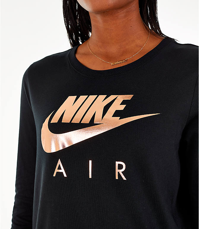 Detail 1 view of Women's Nike Sportswear Air Long-Sleeve T-Shirt in Black/Rose Gold