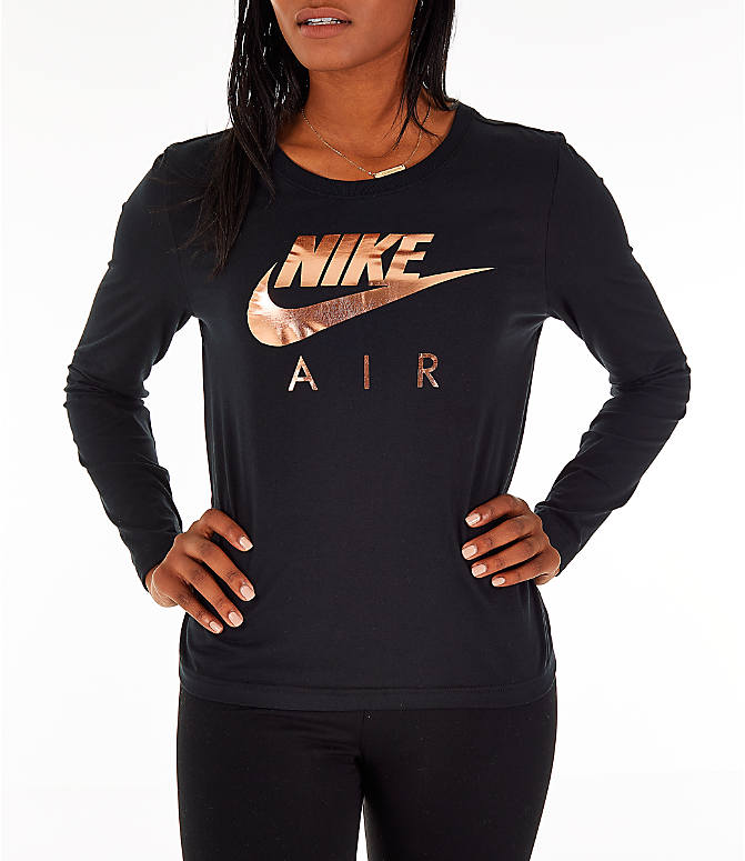 Detail 2 view of Women's Nike Sportswear Air Long-Sleeve T-Shirt in Black/Rose Gold