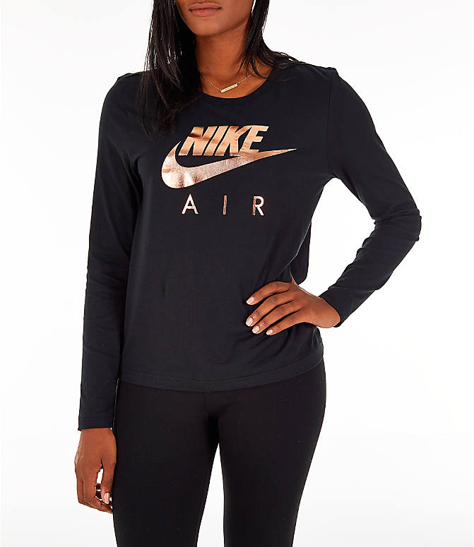 Front view of Women's Nike Sportswear Air Long-Sleeve T-Shirt in Black/Rose Gold