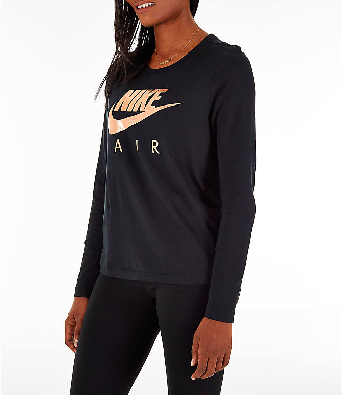 Front Three Quarter view of Women's Nike Sportswear Air Long-Sleeve T-Shirt in Black/Rose Gold