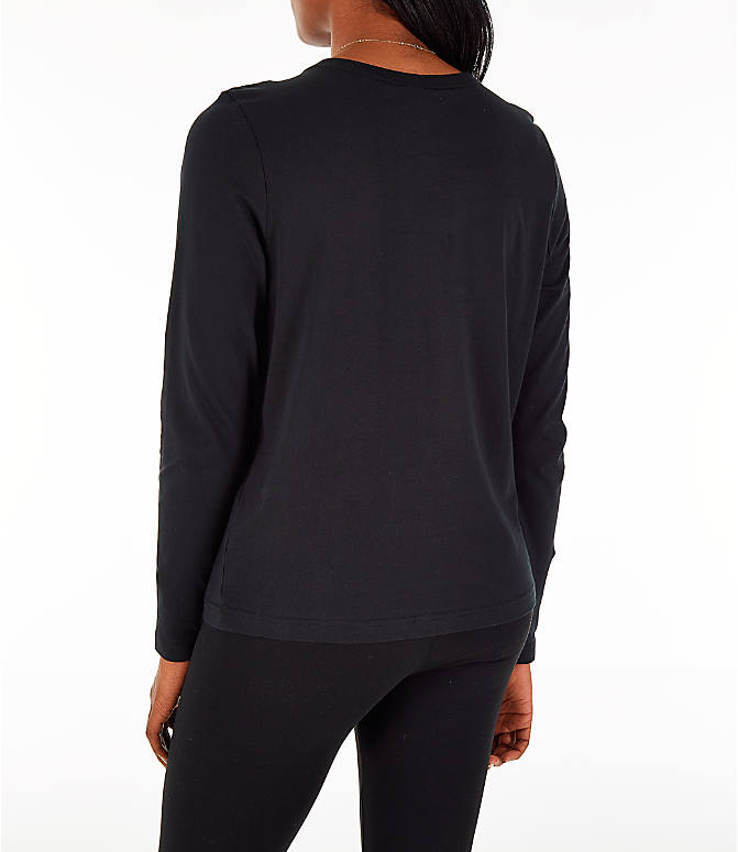 Back Left view of Women's Nike Sportswear Air Long-Sleeve T-Shirt in Black/Rose Gold