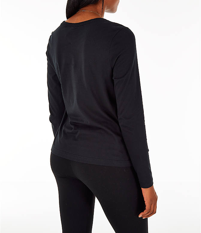 Back Right view of Women's Nike Sportswear Air Long-Sleeve T-Shirt in Black/Rose Gold