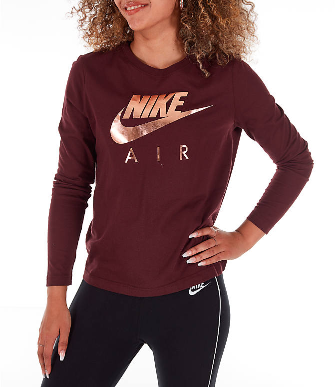 9f12dfd2 Front view of Women's Nike Sportswear Air Long-Sleeve T-Shirt in Burgundy/