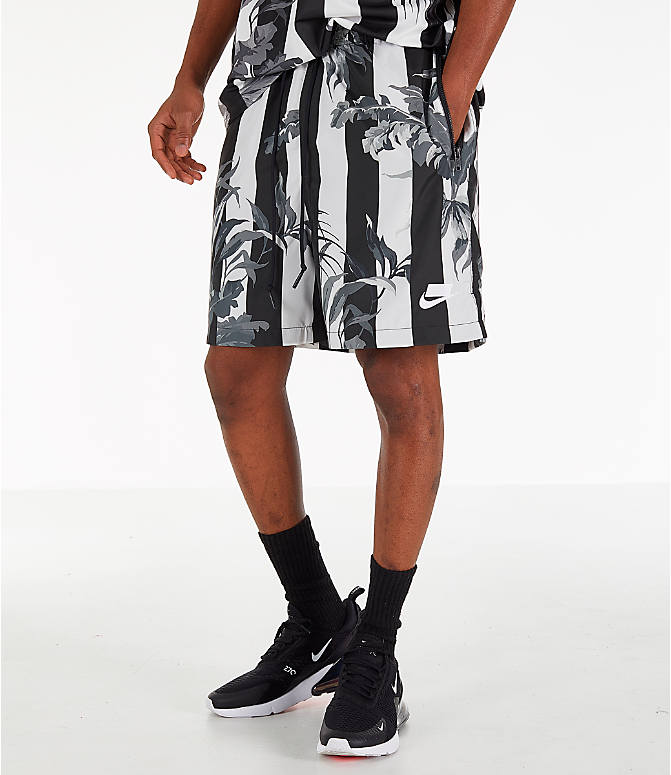 Front view of Men's Nike Sportswear Floral Soccer Shorts in Black/White