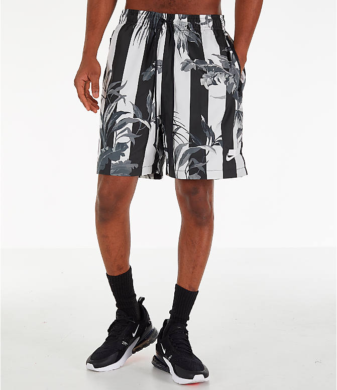 Front Three Quarter view of Men's Nike Sportswear Floral Soccer Shorts in Black/White