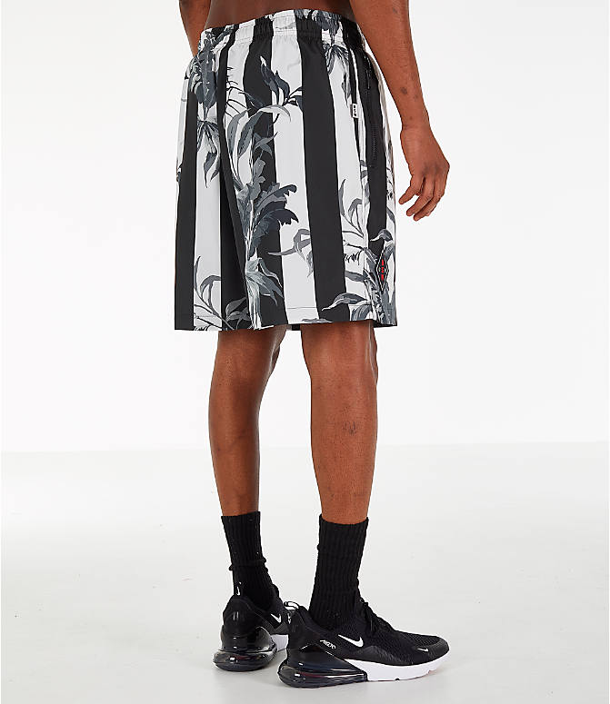 Back Right view of Men's Nike Sportswear Floral Soccer Shorts in Black/White