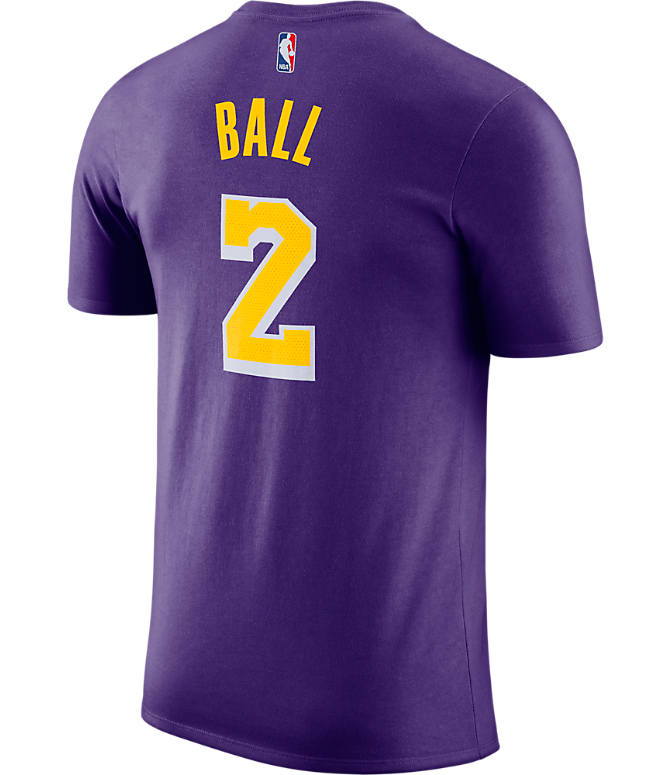 faed7c39005 Front view of Men's Nike Los Angeles Lakers NBA Lonzo Ball Name and Number T -