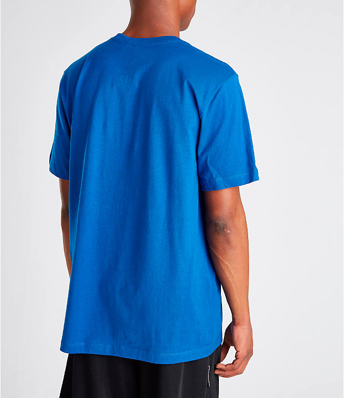 Back Right view of Men's Nike Sportswear Just Do It Swoosh T-Shirt in Indigo Force