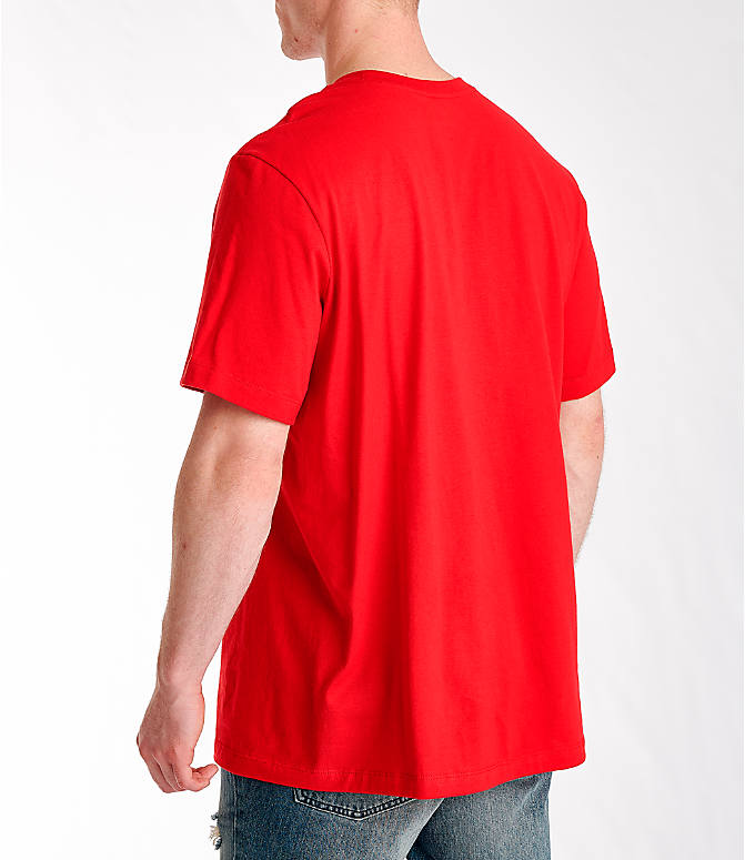 Back Left view of Men's Nike Sportswear Just Do It Swoosh T-Shirt in University Red/Black